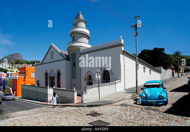 cape town Bo Kaap colorful facades in area of cape muslims VW beetle church  - Stock Image