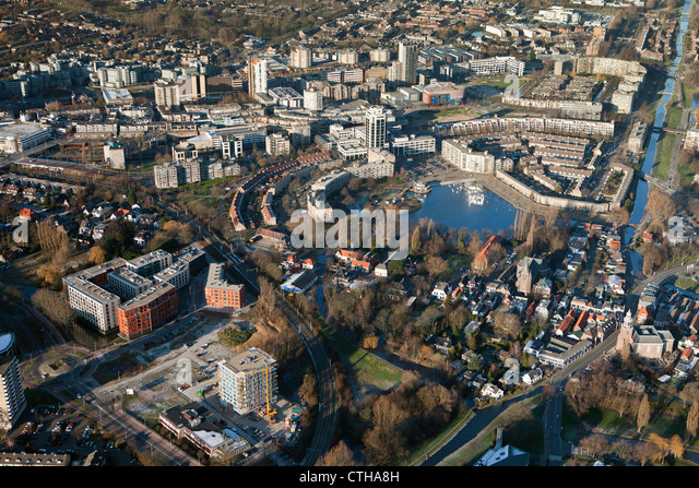 The Netherlands, Zoetermeer, City center. Aerial. - Stock Image