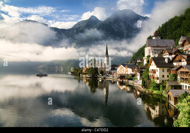 Morning sun on Hallstatt Austria - Stock Image