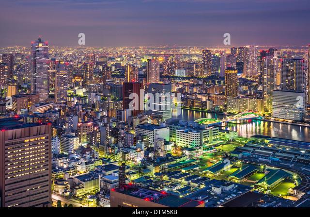 Tokyo, Japan cityscape aerial cityscape over Tsukiji Market at twilight. - Stock Image