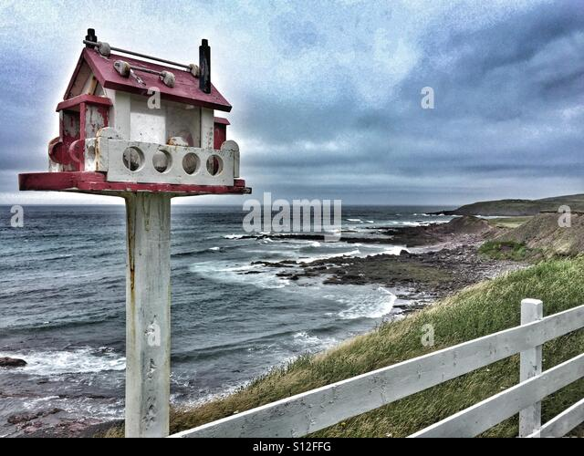 A bird feeder without birds on a stormy seaside day. - Stock Image