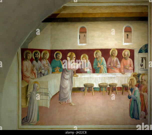 Institution of the Eucharist, Cell 35, by Fra Beato Angelico, 1441-42, Convent of San Marco, Florence, Tuscany, - Stock Image