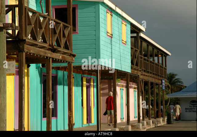 Antigua Colours St Johns Redcliffe Quay shopping bright colorful buildings - Stock Image