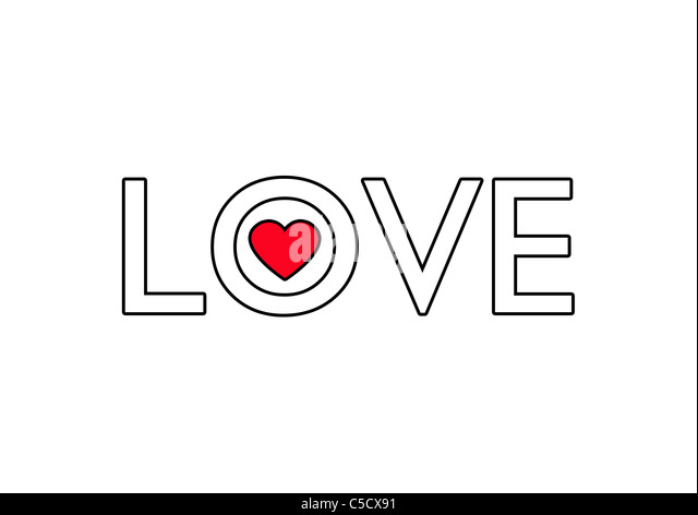 LOVE and red heart shape illustration - Stock Image