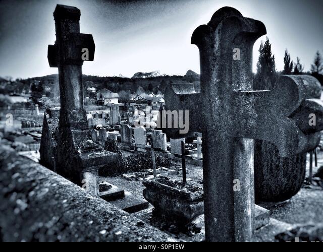 Graveyard, Menthon Saint Bernard - Stock Image