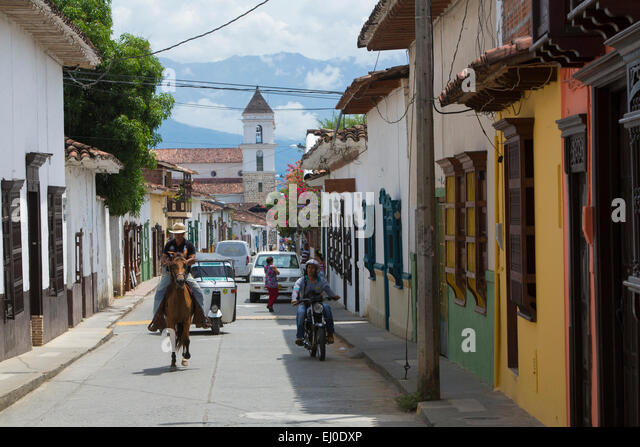 South America, Latin America, Colombia, town, city, towns, cities, town, city, of Santa Fe di Antioquia, colonial - Stock Image