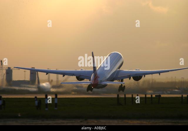British Airways Boeing 777 taking off at London Heathrow Airport UK - Stock Image