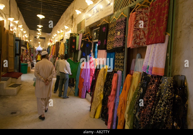 Qatar Doha Souk Indian Sari shops - Stock Image