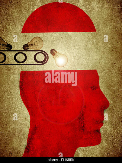 red silhouette with bulb creativity factory concept digital illustration - Stock Image