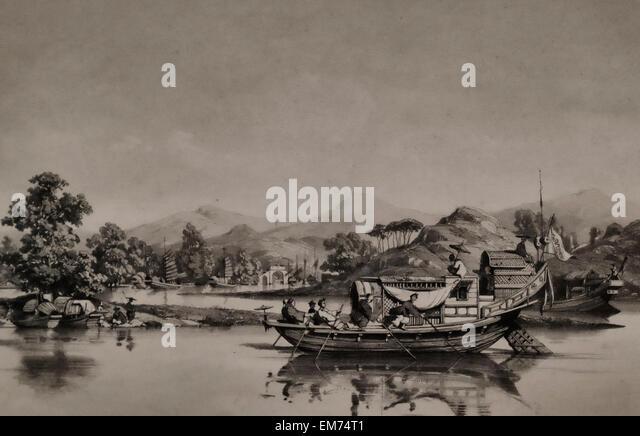 A scene on Pearl River Delta - 19th Century - Auguste Borget - Stock-Bilder