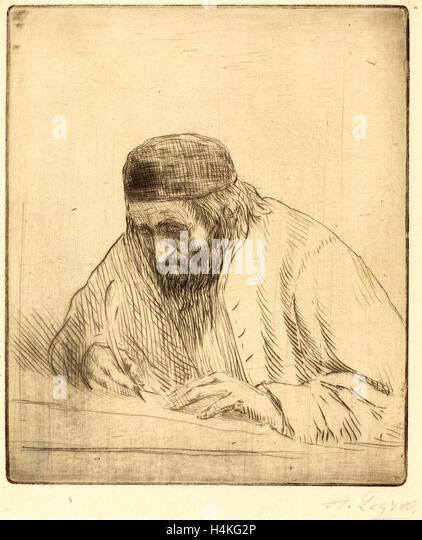 Alphonse Legros, Writer (L'ecrivain), French, 1837-1911, drypoint - Stock-Bilder