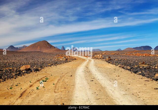 Road in Sahara Desert, Hoggar, Algeria - Stock Image