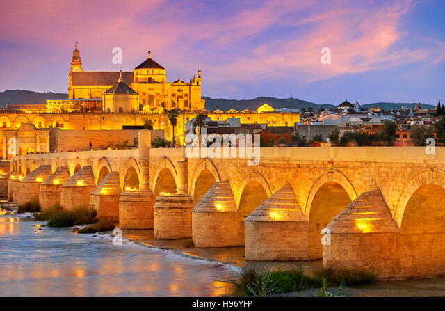 Spain - Roman Bridge and Cordoba Mosque, Andalusia, Cordoba - Stock Image