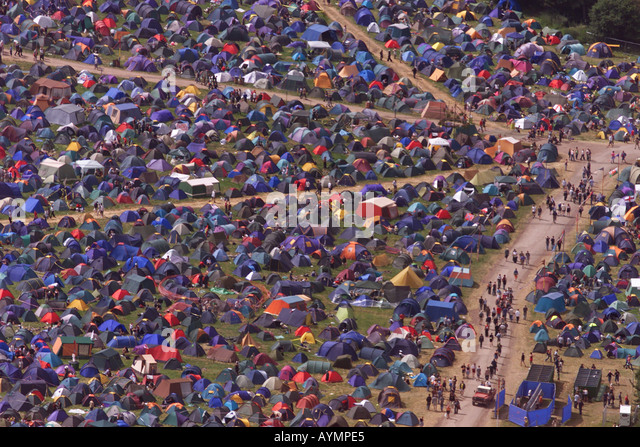 The sea of tents and people at the Glastonbury Festival Somerset UK - Stock Image