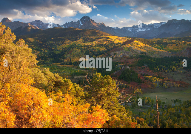 Autumn colors and the Sneffels Range, San Juan Mountains, Colorado. - Stock-Bilder