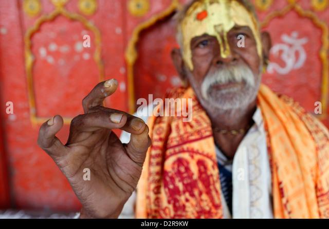 Hindu blessing, Mathura, Uttar Pradesh, India, Asia - Stock-Bilder
