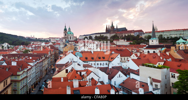 St Vitus cathedral and St Nicholas church, Prague, Czech Republic - Stock Image