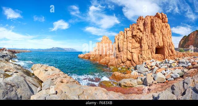 Sardinia Island - Arbatax, Red Rocks, Golfo di Orosei, Italy - Stock Image