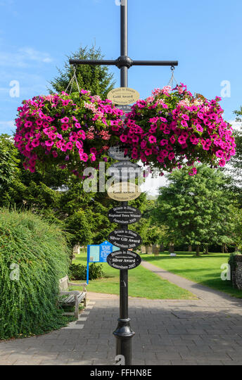 Plaques in Old Amersham, Buckinghamshire, England, UK celebrating the towns success in the Britain in Bloom contest. - Stock Image