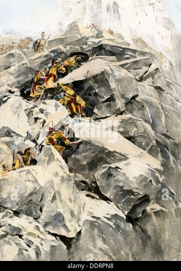 Army of Alexander the Great attacking Porus's citadel on the Indus, 326 BC. - Stock Image