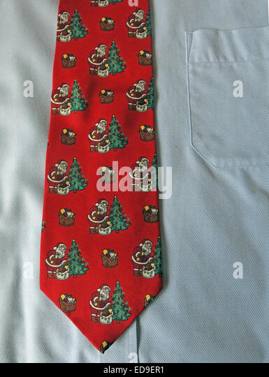 Interesting Red Christmas tie, male neckware in silk - Stock Image
