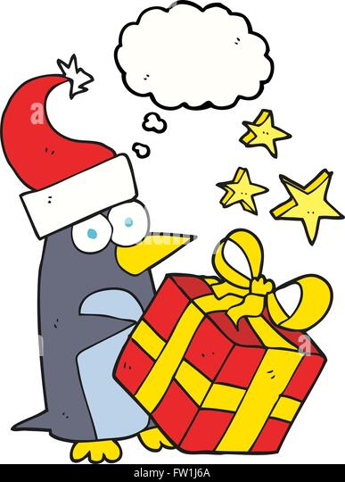 freehand drawn thought bubble cartoon christmas penguin with present - Stock-Bilder