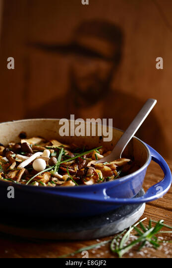 Casserole with mushroom stew - Stock Image