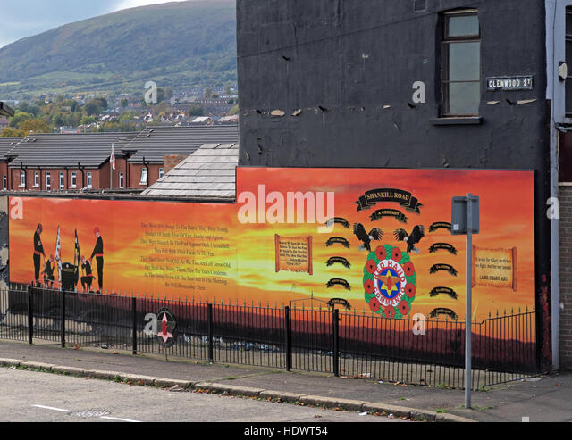 UFF Unionist mural, off Glenwood St/Shankill Road West Belfast,Northern Ireland,UK - A Company battalion - Stock Image
