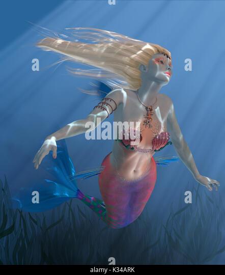 Sunbeams shine down through clear ocean waters as Mermaid Coral swims above a kelp bed. - Stock Image