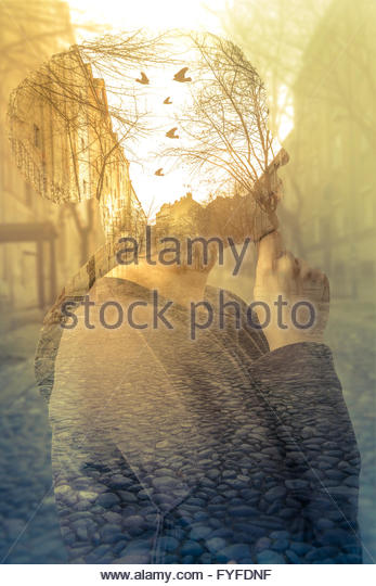 Double exposure image of woman, imagination concept - Stock Image