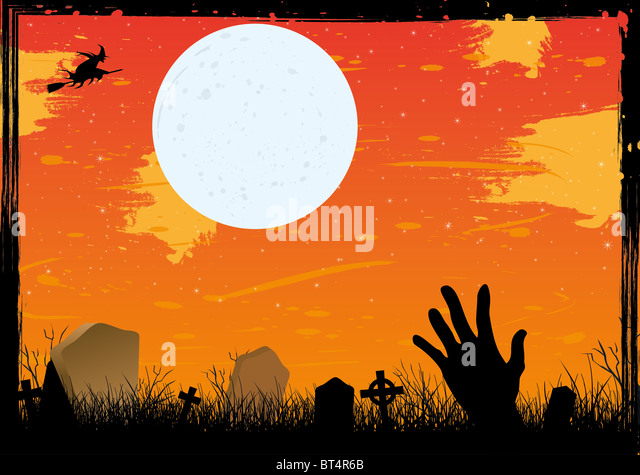 Halloween starry night on cemetery red card - Stock Image