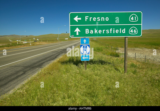 The intersection of California State Highways 46 and 41 where actor James Dean died in a car accident in the 1950s - Stock Image