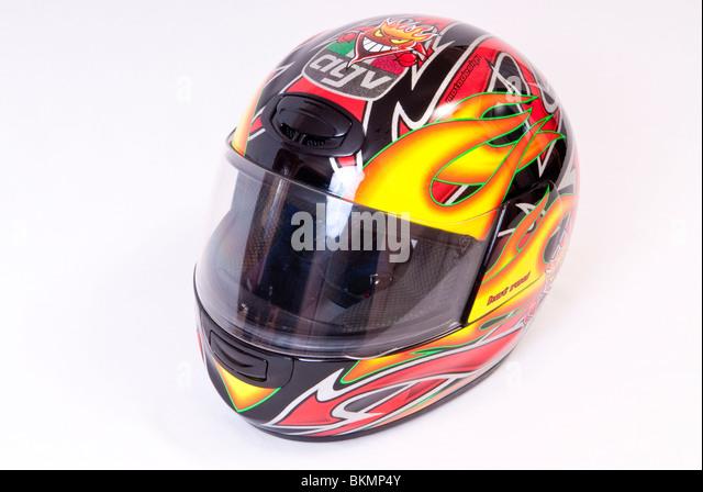 Motorcycle Crash Helmet - Stock Image