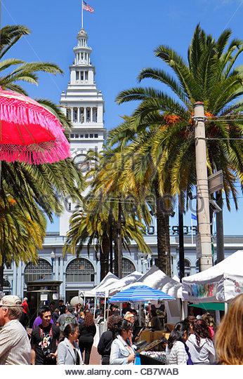 San Francisco California Market Street 101 The Embarcadero Justin Herman Plaza Ferry Building 1898 clock market - Stock Image