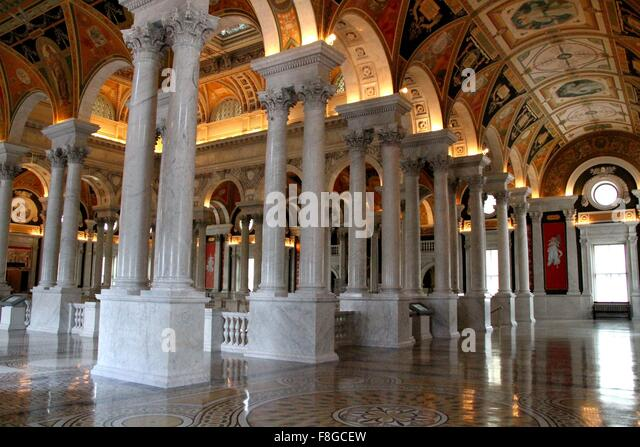 Washington, DC, USA. 9th Dec, 2015. Photo taken on Dec.9, 2015 shows an interior view of the Library of Congress - Stock-Bilder