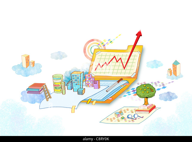Illustration of buildings, books and arrow sign - Stock-Bilder
