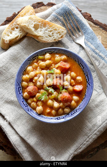 Homemade chickpea stew with chorizo - Stock Image