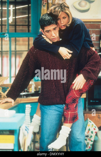 FRIENDS NBC/Universal TV series 1995/6 with Jennifer Aniston and David Schwimmer - Stock Image