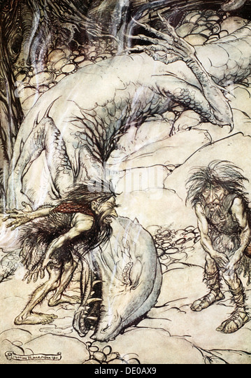 'The dwarves quarrelling over the body of Fafner', 1924.  Artist: Arthur Rackham - Stock Image