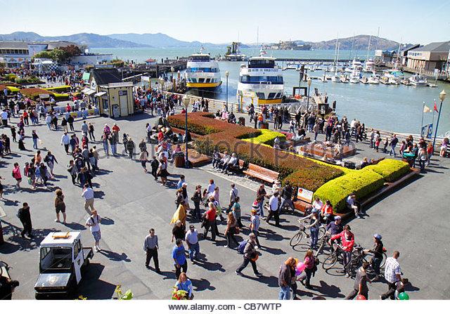 California San Francisco The Embarcadero Pier 39 waterside recreation area Fisherman's Wharf water entrance - Stock Image