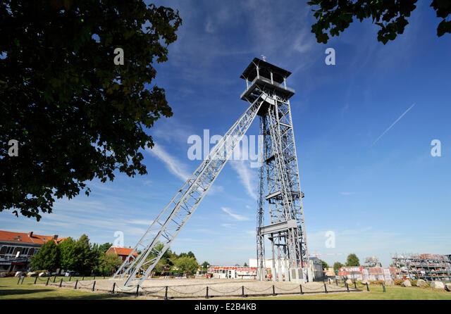 France, Pas de Calais, Lievin, St Ame Headframe pit No. 3 - Stock Image