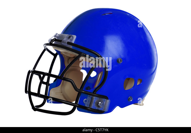 Blue football helmet isolated over white background - With Clipping Path - Stock Image