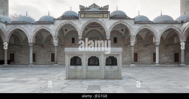 Facade of Suleymaniye Mosque, an Ottoman imperial mosque located on the Third Hill of Istanbul, Turkey, and the - Stock Image
