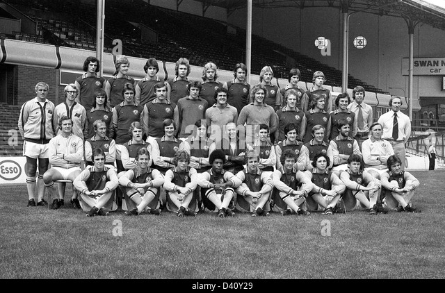 Aston Villa football club team 1976 back row Charles Young John Deehan David Evans David Hughes Keith Masefield - Stock Image