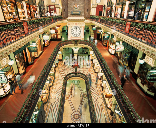 Australia Sydney Qeen Victoria Shopping Centre mall indoor - Stock Image