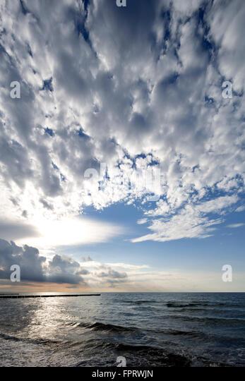 Cloud formation over the Baltic Sea, Cirrocumulus, Kühlungsborn, Meckenburg-Vorpommern, Germany - Stock Image