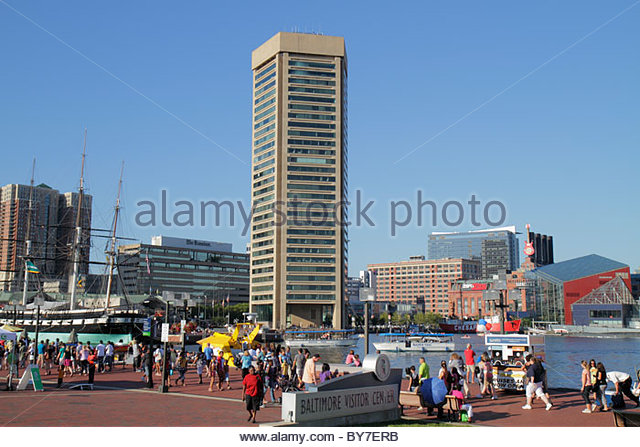 Baltimore Maryland Inner Harbor Harborplace waterfront festival marketplace Patapsco River World Trade Center building - Stock Image
