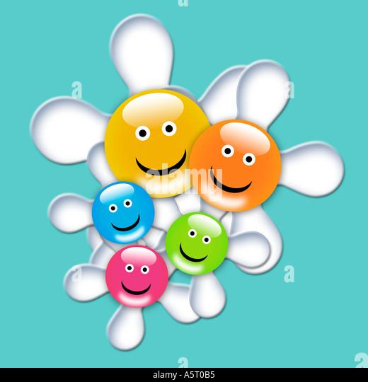Smile flowers kids illustrations - Stock Image
