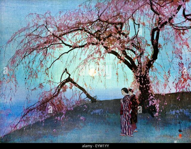Hiroshi Yoshida, Kumoi-Zakura (Kumoi Cherry Trees) 1920 Color woodblock print. Toledo Museum of Art, Ohio, USA. - Stock Image