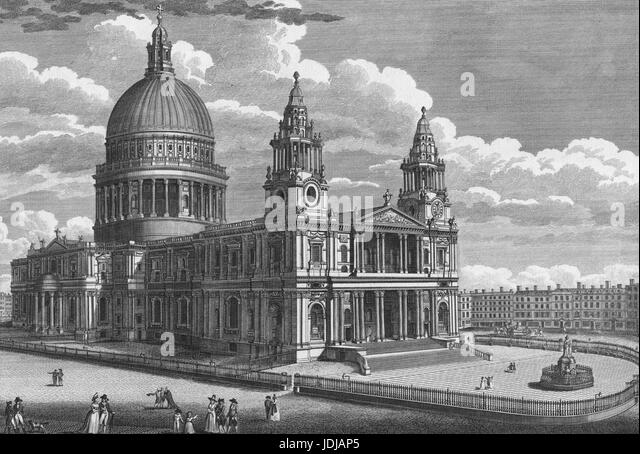 Engraving of the exterior of St. Paul's Cathedral in the City of London, United Kingdom, 1770. From the New - Stock Image